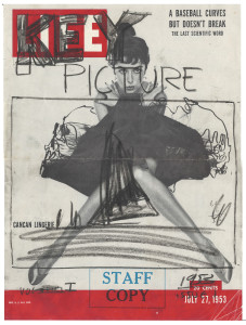 "Drew's early mock-up of the cover image for his pilot magazine show for television, ""Key Picture."" The image today looks familiar as it anticipates the look of online click-and-play video."